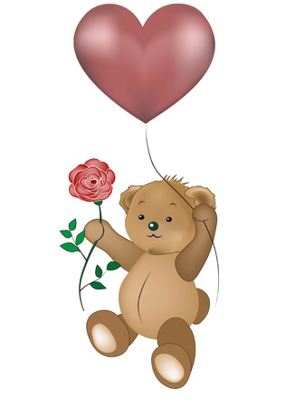 Lovely teddy bear by a balloon heart with a rose Illustration