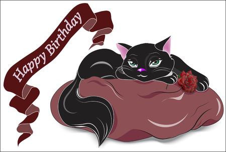 the animated film: the black cat with green eyes, lies on a pink pillow, holds a rose and wishes Happy birthday