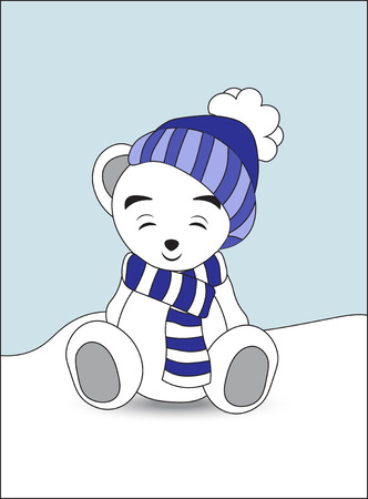 closed eyes: lovely polar teddy bear in a cap and a scarf sits on snow with the closed eyes