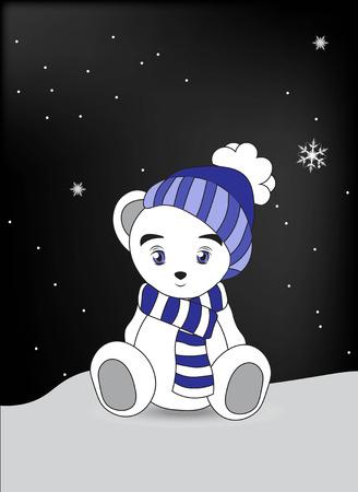 snow cap: lovely polar teddy bear in a cap and a scarf sits on snow