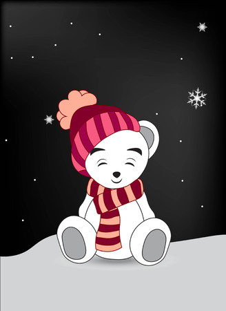 closed eyes: lovely polar teddy bear in a red cap and a scarf sits on snow with the closed eyes