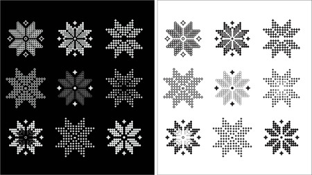 jacquard: white and black snowflakes, flowers  of a jacquard pattern style