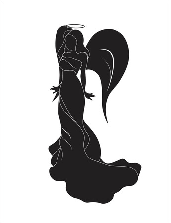 silhouette of the beautiful Christmas girl angel with wings and a nimbus Illustration