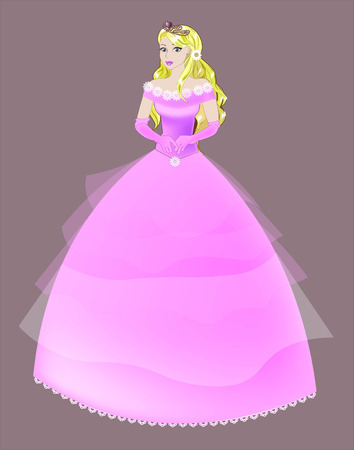 cinderella dress: the great princess with blonde hair in a long pink dress