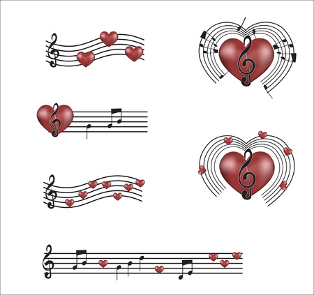 romanticism: set of notes with hearts, the hearts symbolizing music and love songs