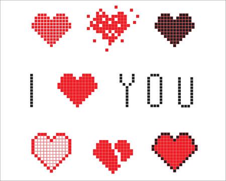 te negro: corazones conjunto de p�xeles y una inscripci�n Te quiero