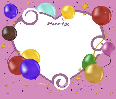 childs birthday party: balloons, confetti and stars on a pink background