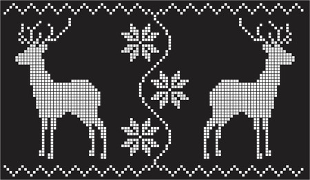 jacquard: white and black snowflakes, flowers and deer, of a jacquard geometric pattern style Illustration