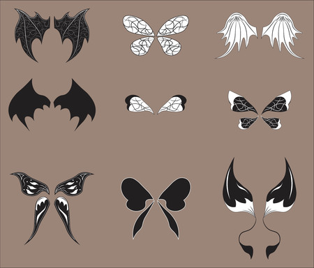 Set of wings of magic beings - the fairy, a dragon, an angel, the demon, a butterfly, witch, bat Illustration