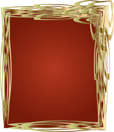 wedding photo album: golden frame and red background, background for invitations, congratulations, posters, greeting cards