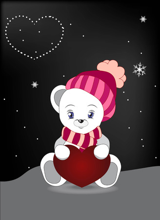snow cap: lovely polar teddy bear in a cap and a scarf sits on snow, with red heart Illustration