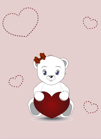 sits: lovely polar teddy bear sits with red heart