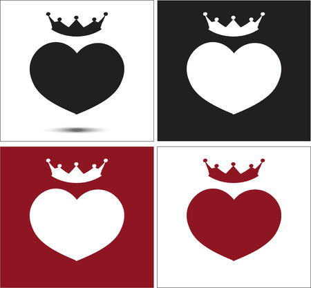 black white red: black, white, red hearts with a crown