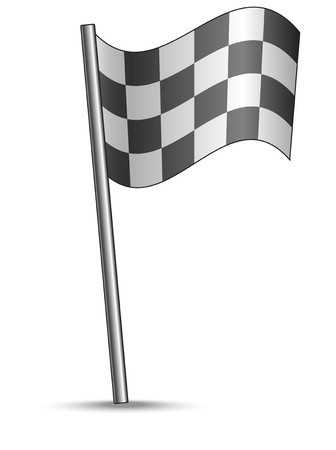 formula 1: Race flag, with black and white squares, in a comics style Illustration