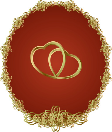 linked: Two Linked Gold Heart on the red background