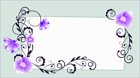 butterfly background: the frame decorated with flowers and deciduous patterns