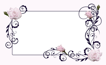 aroma: the frame decorated with flowers of roses and deciduous patterns Illustration