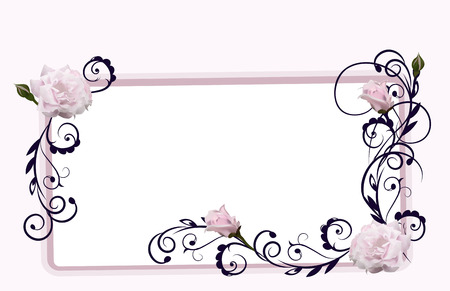 taming: the frame decorated with flowers of roses and deciduous patterns Illustration