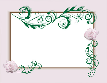 the frame decorated with roses and deciduous patterns