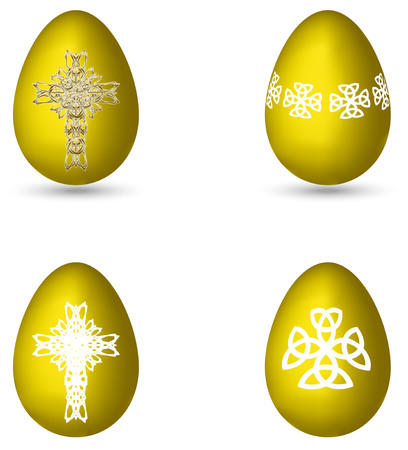 golden eggs: the golden Easter eggs decorated with crosses and crosses patterns Illustration