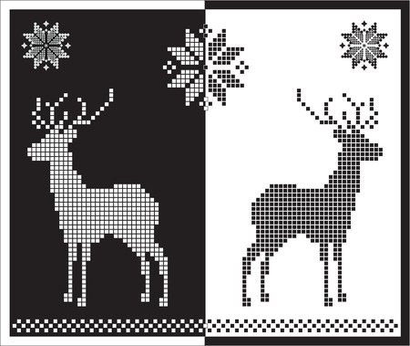 jacquard: white and black snowflakes, flowers and deer, of a jacquard pattern style