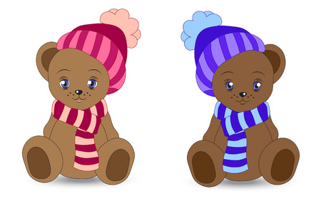 winter clothing: two lovely teddy bear in a cap and a scarf Illustration