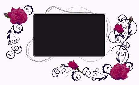 the frame decorated with flowers of roses and deciduous patterns Illustration