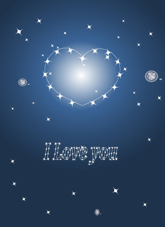 miracles: Valentines, magic blue background with the stars, and star heart.