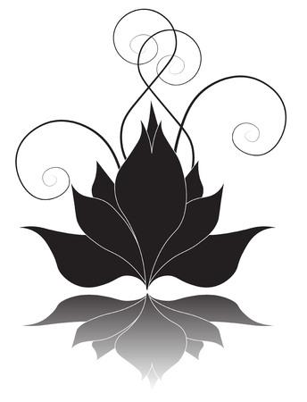 The stylized black Lilia on a white background Vektorové ilustrace