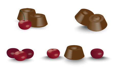 stuffing: Chocolates with cherry, with a shadow, a set