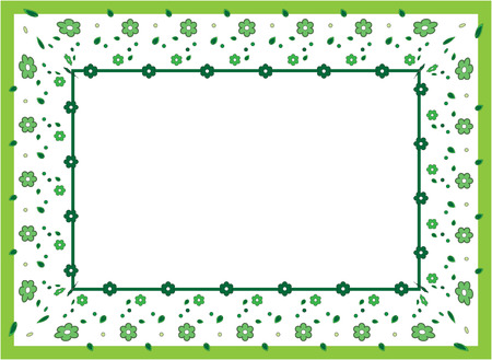 flower frame, green ornament from a daisy, camomiles