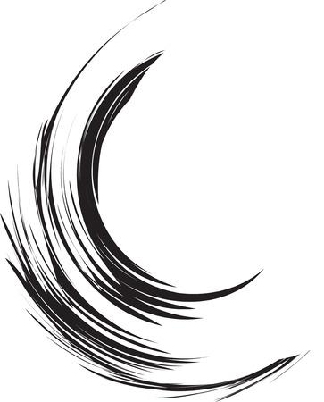 dabs: abstract brush stroke, black ringlet of hair