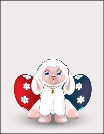 pasen schaap: mooie witte lam, wens een Happy Easter
