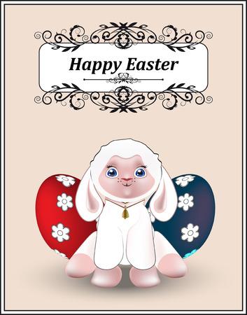 pasen schaap: mooie witte lam, wensen een Gelukkige Pasen, de wenskaart