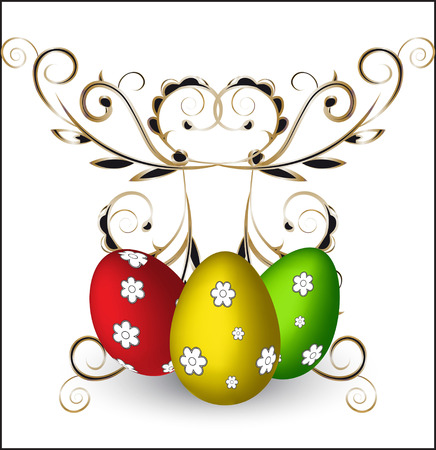 gold eggs: three color painted Easter -- eggs, green, gold, red with flowers Illustration