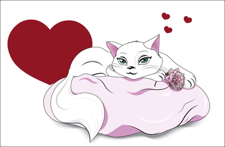 the white in love cat with green eyes, lies on a pink pillow, holds a rose