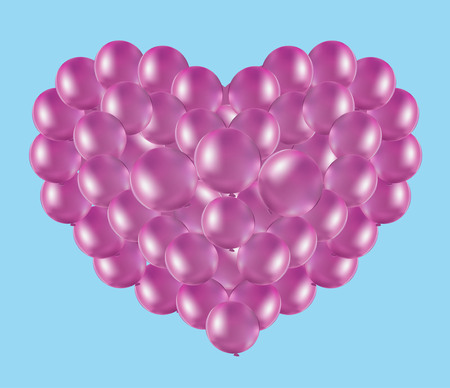 holidays for couples: balloons pink heart in the blue sky, the Valentines Day card Illustration