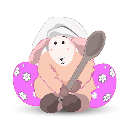 pink cap: lovely pink lamb the cook with a wooden spoon in a cook cap, with color eggs, Easter card