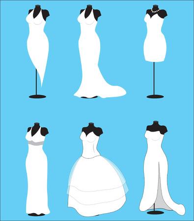dummy: dummy and wedding dresses, for wedding salon Illustration