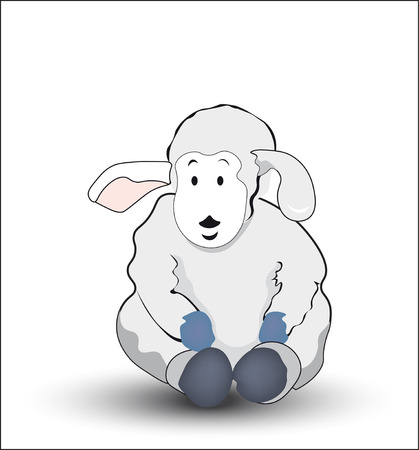 the animated film: the lovely gray drawn lamb, sits and smiles