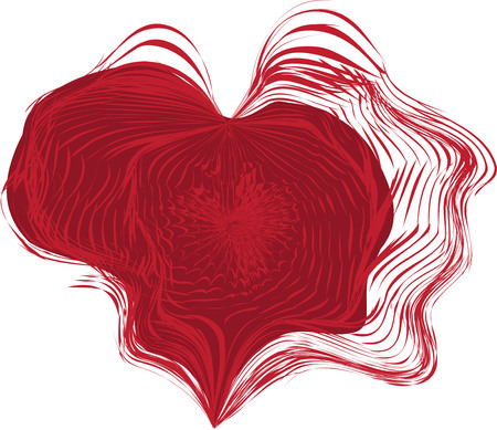 dabs: abstract red heart, on a wind, in paint waves