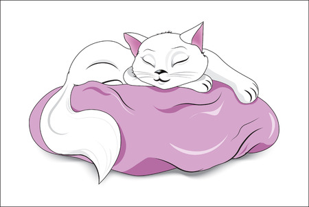 the white sleeping  cat lies on a pink pillow