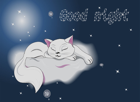 animated film: the white sleeping  cat lies on a cloud