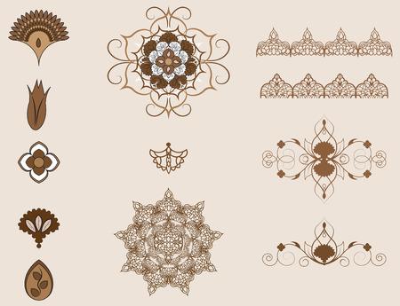 éléments de l'ornement arabe, motifs ottomanes Vecteurs
