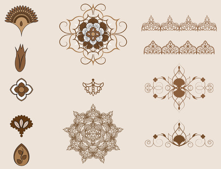 silhouette fleur: éléments de l'ornement arabe, motifs ottomanes