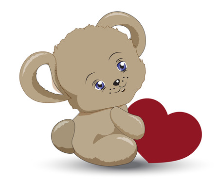 the animated film: the little teddy bear holds heart in hand, a Valentines Day card