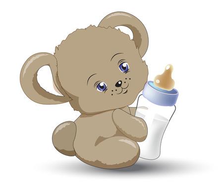 le petit ours en peluche tient lait petite bouteille Vecteurs