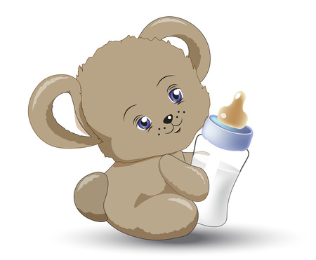 the animated film: the little teddy bear holds milk small bottle