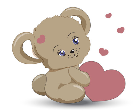 animated film: the little teddy bear girle holds heart in hand, a Valentines Day card