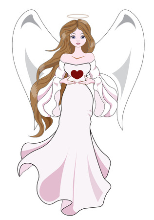 brunette: The fantastic angel, the brunette, holds in hand heart, a Valentines Day card